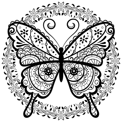 Doodle Butterfly Coloring Page M70 Color A Mandala
